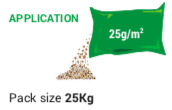 Pack size 25kg 2 bags per green